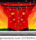 Torii gate on setset BG.Vector Illustration 33762941