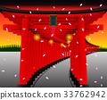 Torii gate on setset BG.Vector Illustration 33762942
