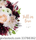 Flower Vector design card burgundy red dahli 33766362