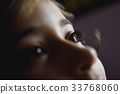 Close-up of beautiful little girl brown eyes 33768060