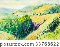 watercolor landscape painting of mountain tree. 33768622