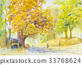 watercolor painting golden tree flowers  33768624