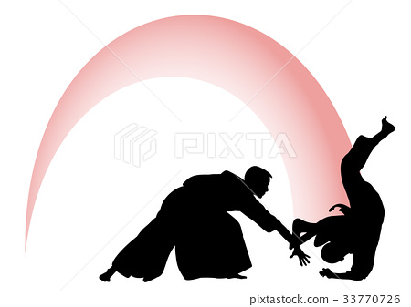 Silhouette of Aikido masters, leading the fight 33770726