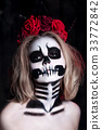 Portrait woman with scared halloween makeup 33772842