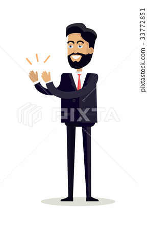 Businessman Clapping Hands with Happy Face 33772851