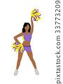 Cheerleader Girl in Violet and Yellow Uniform 33773209