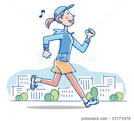 달리기 여성 일러스트 33773976