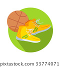 Soccer Boots and Ball Web Button Basketball Vector 33774071