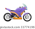 Isolated Violet Motorcycle with Wavy Orange Lines 33774196