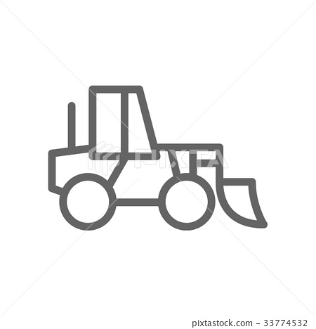 Simple wheel loader line icon. Symbol and sign 33774532