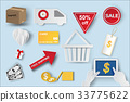 Paper art of  icons of e-commerce symbols 33775622