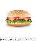 Fast Food Realistic Burger Vector. Big Burger Icon 33776110