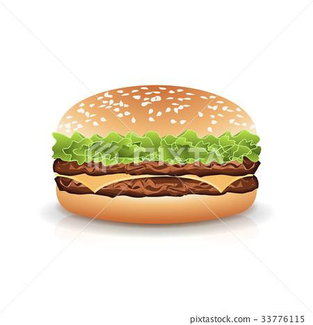 Fast Food Realistic Burger Vector. Hamburger Fast 33776115