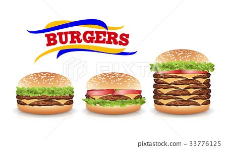 Fast Food Realistic Burger Vector. Set Hamburger 33776125
