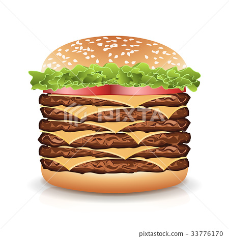 Fast Food Realistic Burger Vector. Big Burger Icon 33776170