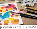 แปรงวาด,จิตรกร,แป้นผสมสี 33776458