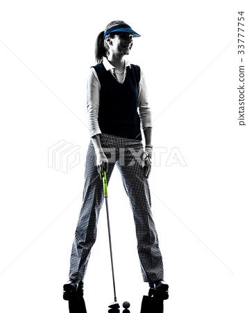 woman golfer golfing silhouette 33777754