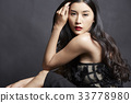 Fashion photo of beautiful lady dressed in black dress looking straight at camera 33778980