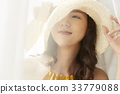 pretty girl is wearing a hat and looking at something 33779088