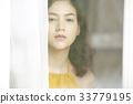 portrait of an Asian girl looking outside 33779195