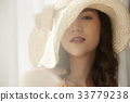 portrait of a woman wearing bonnet hat and smiling 33779238