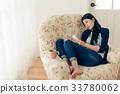 depression girl having problem sitting on sofa 33780062