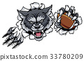 Wolf American Football Mascot Breaking Background 33780209