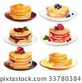 Maple Pancakes Isolated Set 33780384