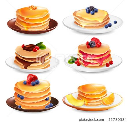 Maple Pancakes Isolated Set 33780384