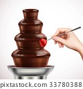 Dip Strawberry Into Chocolate Fountain Composition 33780388
