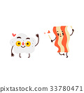 Funny smiling fried egg and bacon strip character 33780471