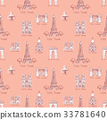 Seamless background with symbols of Paris 33781640