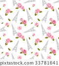 Seamless pattern with Eiffel Tower and roses on 33781641