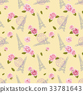 Seamless pattern with Eiffel Tower and roses on 33781643