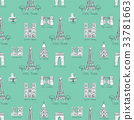 Seamless background with symbols of Paris 33781663
