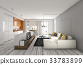 living room with sofa and tv near kitchen bar 33783899