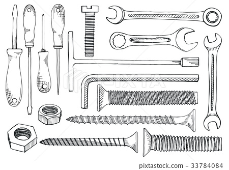 Set of tools and fasteners. 33784084