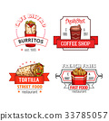 Fast food vector menu icons of fastfood restaurant 33785057
