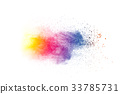 Explosion of color powder on white background 33785731