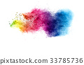 Explosion of color powder on white background 33785736