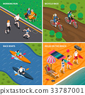 Summer Outdoor Activity People Icon Set 33787001