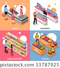 Supermarket Isometric Concept Icons  Set 33787025