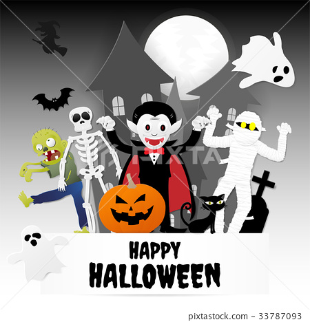 Happy halloween night party. Cartoon characters 33787093