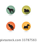 Dog and cat signs Animal set. Pets icon silhouette 33787563