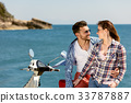 Couple sitting on motor scooter looking at each 33787887