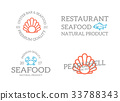 Set of retro vintage fish and shell, crab logo or 33788343
