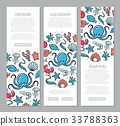 Set of three digital fish and seafood vertical 33788363