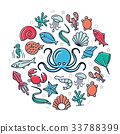 Vector seafood colored icons in circle design 33788399