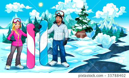 Snowboarders boy and girl on the mountain 33788402