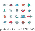 Set of vector fish and sea food colored line icons 33788745